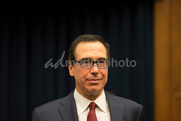 United States Secretary of the Treasury Steven T. Mnuchin arrives to the give testimony before the US House Financial Services Committee on Capitol Hill in Washington, DC on April 9, 2019.<br /> Credit: Stefani Reynolds / CNP/AdMedia