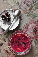 A bowl of forest fruit soup by foodwriter Csaba Dalla Zorza,Milan
