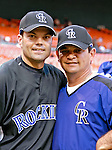 20 July 2007: Colorado Rockies infielder Jamey Carroll poses with third base coach Mike Gallego prior to a game against the Washington Nationals at RFK Stadium in Washington, DC. The Rockies defeated the Nationals 3-1 in the second game of their 4-game series...Mandatory Photo Credit: Ed Wolfstein Photo