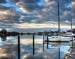 Boat Reflections in April in Babylon Long Island