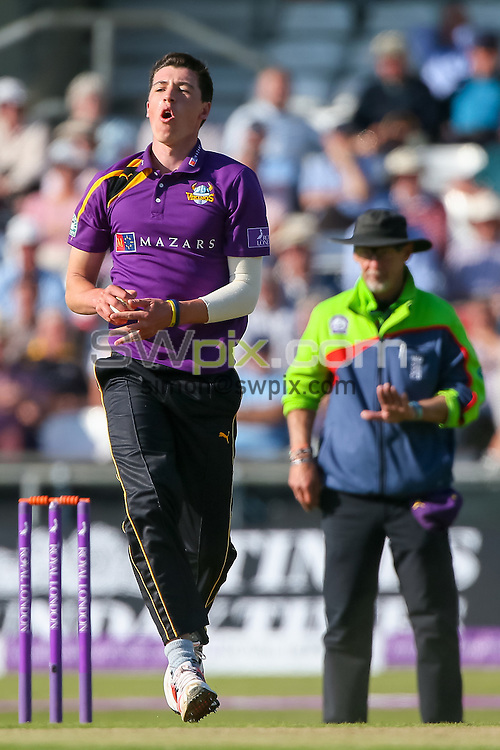 Picture by Alex Whitehead/SWpix.com - 06/09/2015 - Cricket - Royal London One-Day Cup, Semi-Final - Yorkshire CCC v Gloucestershire CCC - Headingley Cricket Ground, Leeds, England - Yorkshire's Matthew Fisher reacts.