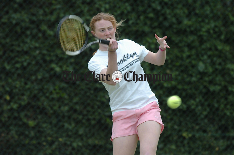 Emma Tierney of Ennis Tennis Club, winner of the Girls U-16 at the Templeogue open in Dublin. Photograph by John Kelly.