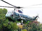 Marine One, with United States President Barack Obama aboard prepares to land on the South Lawn of the White House in Washington, D.C. on Wednesday, October 26, 2011.   The President returned from a three day campaign trip to California, Nevada, and Colorado..Credit: Ron Sachs / Pool via CNP