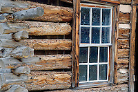 Old window of historic house. Nevada City, Montana