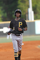 Bristol Pirates infielder Victor Ngoepe (5) running the bases during a game against the Greeneville Reds at Pioneer Field on June 19, 2018 in Greeneville, Tennessee. Bristol defeated Greeneville 10-2. (Robert Gurganus/Four Seam Images)