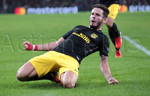 13.09.2016. Phillips Stadium, Eindhoven, Holland. UEFA Champions League football. PSV Eindhoven versus Atletico Madrid.  Goal celebration from Saul Niguez (atl)