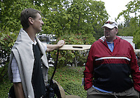 June 23, 2008:  Former Seattle SuperSonics Detlef Schrempf and Todd MacCulloch enjoy a chat together before  playing in the Detlef Schrempf celebrity golf classic held at McCormick Woods golf club in Port Orchard, WA.