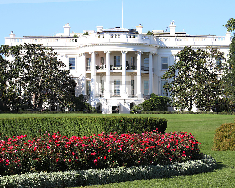 """View from the lawn during a  D.C United clinic in support of first lady Michelle Obama's """"Let's Move"""" initiative on the White House lawn, in Washington D.C. on October 7 2010."""