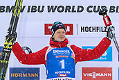 9th December 2017, Biathlon Centre, Hochfilzen, Austria; IBU Biathlon World Cup; Johannes Thingnes Boe (NOR) wins the the mens 12.5KM pursuit