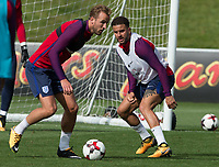 Harry Kane and Kyle Walker during the part open training session of the  England national football squad at St George's Park, Burton-Upon-Trent, England on 31 August 2017. Photo by James Williamson.