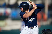 Lakeland Flying Tigers designated hitter Cam Gibson (12) at bat during the first game of a doubleheader against the Bradenton Marauders on April 11, 2018 at Publix Field at Joker Marchant Stadium in Lakeland, Florida.  Lakeland defeated Bradenton 5-4.  (Mike Janes/Four Seam Images)