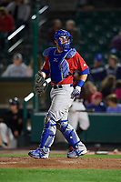 Buffalo Bisons catcher Danny Jansen (41) during a game against the Rochester Red Wings on August 25, 2017 at Frontier Field in Rochester, New York.  Buffalo defeated Rochester 2-1 in eleven innings.  (Mike Janes/Four Seam Images)