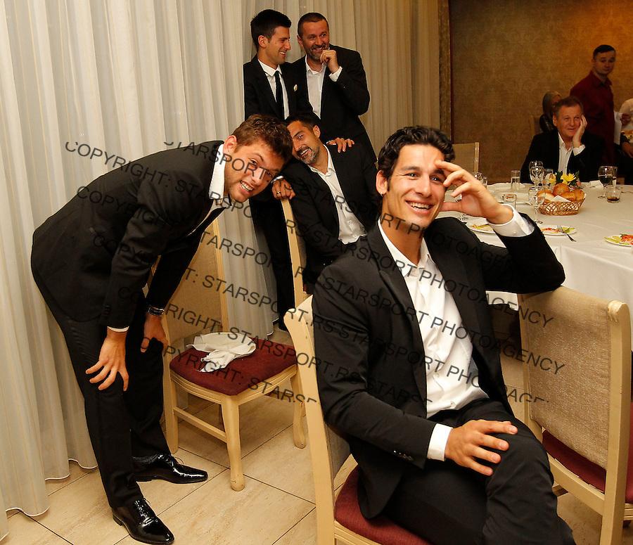 Davis Cup 2014 first round<br /> Srbija v Hrvatska<br /> Official Dinner<br /> Ilija Bozoljac Filip Krajinovic Nenad Zimonjic Novak Djokovic and Bogdan Obradovic<br /> Kraljevo, 04.03.2015.<br /> Foto: Srdjan Stevanovic/Starsportphoto.com&copy;