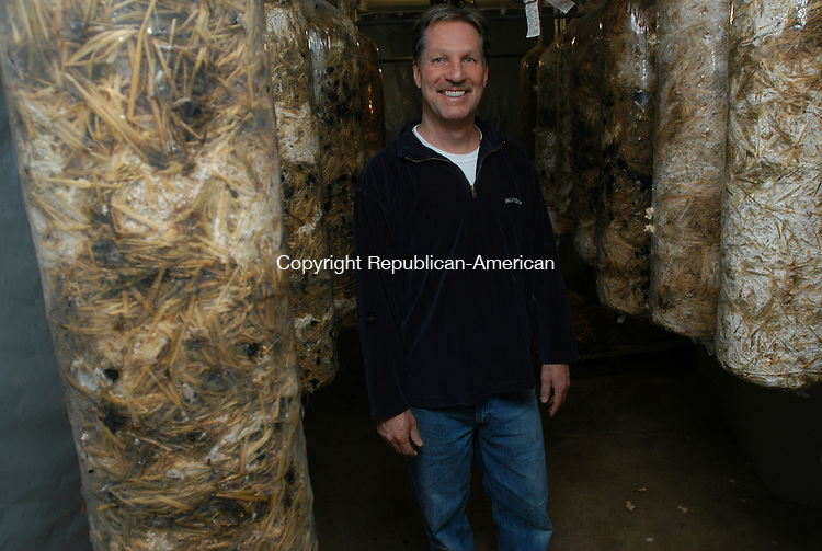 WATERBURY, CT- 19 MARCH 2010 - 031910IP02- Gregg Wershoven grows mushrooms in the basement of an old factory building in Waterbury. These are oyster mushrooms that are hanging in bags to grow.<br /> Irena Pastorello Republican-American