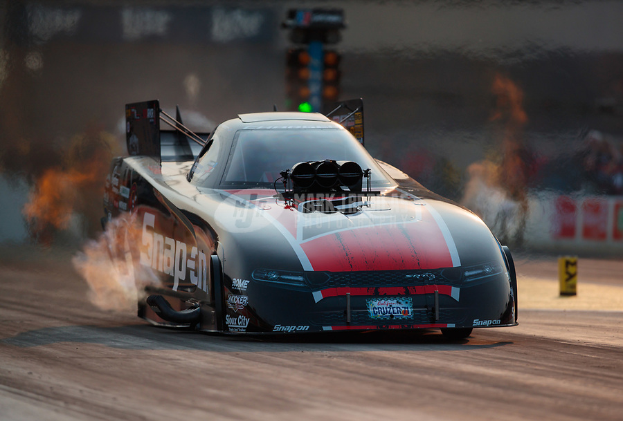 May 31, 2019; Joliet, IL, USA; NHRA funny car driver Cruz Pedregon during qualifying for the Route 66 Nationals at Route 66 Raceway. Mandatory Credit: Mark J. Rebilas-USA TODAY Sports