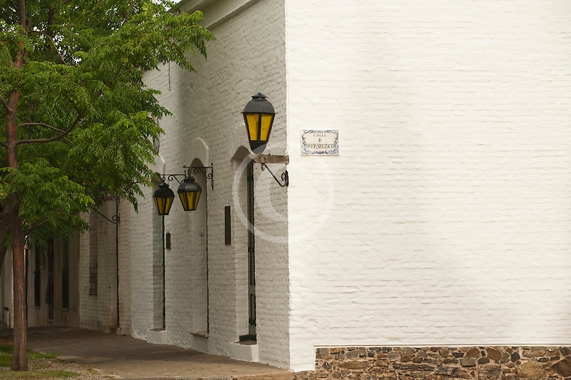 Uruguay, Colonia del Sacramento, Street corner, Trees and whitewashed house, Historic District