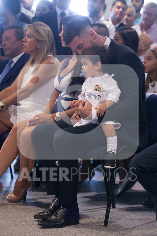Pilar Rubio and Sergio Ramos with their child during Ramos´s renewal in Madrid, Spain. August 17, 2015. (ALTERPHOTOS/Victor Blanco)