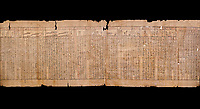 """Anciient Egyptian Book of the Dead papyrus - Spell 30 for stopping the heart betraying the deceased at the tribunal of Osiris, Iufankh's Book of the Dead, Ptolemai period (332-30BC).Turin Egyptian Museum.  Black background<br /> <br /> the spell reads ' Stand not against me as a witness, oppose me not in the Council, act not against me before the gods, outweigh me not before the great God, the Lord os the West""""<br /> <br /> The translation of  Iuefankh's Book of the Dead papyrus by Richard Lepsius marked a truning point in the studies of ancient Egyptian funereal studies."""