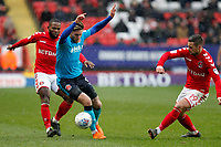 Wes Burns of Fleetwood Town is closed down by Jake Forster-Caskey of Charlton FC during the Sky Bet League 1 match between Charlton Athletic and Fleetwood Town at The Valley, London, England on 17 March 2018. Photo by Carlton Myrie.