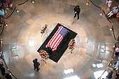 Photo taken from the Dome of the United States Capitol of the Lying in State honoring the late US Senator John McCain (Republican of Arizona) in the US Capitol Rotunda in Washington, DC on Friday, August 31, 2018.<br /> Credit: Ron Sachs / CNP<br /> <br /> <br /> (RESTRICTION: NO New York or New Jersey Newspapers or newspapers within a 75 mile radius of New York City)