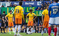 Sido Jombati of Wycombe Wanderers prepares to take a free kick which he scores from during the Sky Bet League 2 match between Portsmouth and Wycombe Wanderers at Fratton Park, Portsmouth, England on 23 April 2016. Photo by Andy Rowland.