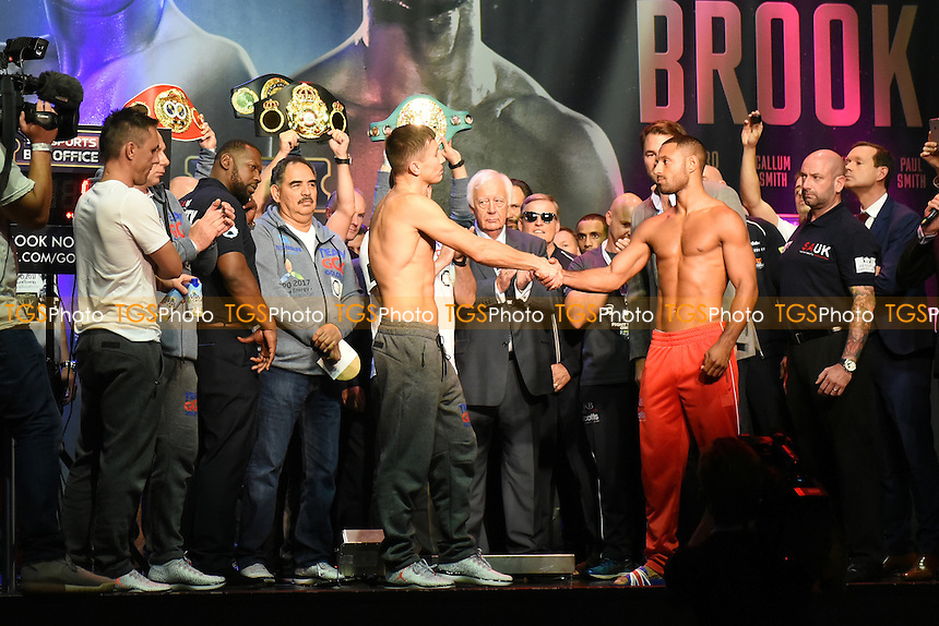 General view of Boxers Kell Brook and Gennady Golovkin during a Weigh-In at the O2 Arena on 9th September 2016