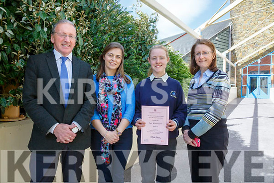 Colaiste na Sceilge student Tara Whittington takes joint honors in the University of Limericks National Secondary Schools Essay Writing competition for Transition Year Students pictured here l-r; John O'Connor(Principal), Jean Browne(Teacher), Tara Whittington & Annmarie Killen(Deputy Principal).