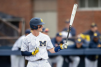 Michigan Wolverines catcher Joe Donovan (0) at the plate against the Rutgers Scarlet Knights on April 27, 2019 in the NCAA baseball game at Ray Fisher Stadium in Ann Arbor, Michigan. Michigan defeated Rutgers 10-1. (Andrew Woolley/Four Seam Images)