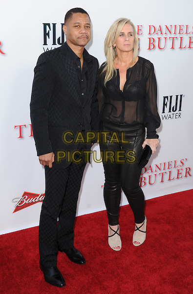 Cuba Gooding Jr. &amp; Sara Kapfer<br /> &quot;Lee Daniels' The Butler&quot; Los Angeles Premiere held at Regal Cinemas L.A. Live, Los Angeles, California, USA.        <br /> August 12th, 2013    <br /> full length blouse sheer see through thru bra married husband wife leather trousers black suit jacket  <br /> CAP/DVS<br /> &copy;DVS/Capital Pictures