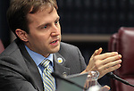 Nevada Assemblyman Elliot Anderson, D-Las Vegas, questions a proposal to require voters to present photo identification at the polls during a hearing at the Legislative Building in Carson City, Nev., on Tuesday, March 17, 2015. Opponents argue the move could deter some people from voting, especially minorities and elderly. <br /> Photo by Cathleen Allison
