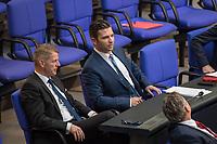 Sitzung des Deutschen Bundestag am Donnerstag den 19. April 2018.<br /> Im Bild vlnr.: Die Abgeordneten der rechtsnationalistischen &quot;Alternative fuer Deutschland&quot;, AfD, Karsten Hilse und Jan  Ralf Nolte. Nolte nahm Stellung zu den Vorhaltungen aus dem Plenum, er wuerde einen Rechtsextremisten als Angestellten beschaeftigten, der Aufgrund seiner rechtsextremen Umtriebe keine Sicherheitsfreigabe des Deutschen Bundestag und somit auch keine Zugangsberechtigung zum Bundestag bekommen hat.<br /> 19.1.2018, Berlin<br /> Copyright: Christian-Ditsch.de<br /> [Inhaltsveraendernde Manipulation des Fotos nur nach ausdruecklicher Genehmigung des Fotografen. Vereinbarungen ueber Abtretung von Persoenlichkeitsrechten/Model Release der abgebildeten Person/Personen liegen nicht vor. NO MODEL RELEASE! Nur fuer Redaktionelle Zwecke. Don't publish without copyright Christian-Ditsch.de, Veroeffentlichung nur mit Fotografennennung, sowie gegen Honorar, MwSt. und Beleg. Konto: I N G - D i B a, IBAN DE58500105175400192269, BIC INGDDEFFXXX, Kontakt: post@christian-ditsch.de<br /> Bei der Bearbeitung der Dateiinformationen darf die Urheberkennzeichnung in den EXIF- und  IPTC-Daten nicht entfernt werden, diese sind in digitalen Medien nach &sect;95c UrhG rechtlich geschuetzt. Der Urhebervermerk wird gemaess &sect;13 UrhG verlangt.]