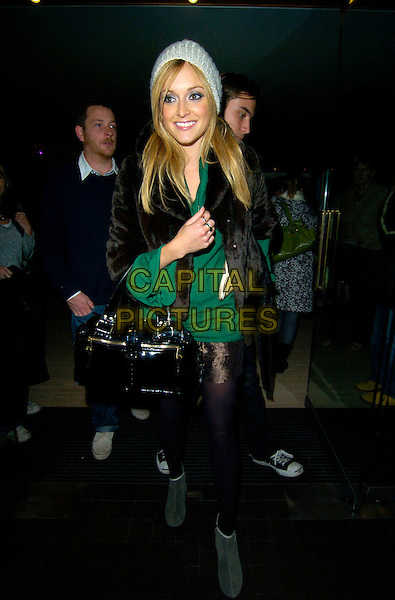 "FEARNE COTTON.The ""A Night in November"" press night, Trafalgar Studios theatre, London, England..October 22nd, 2007 .full length black bag purse hat green top brown fur coat grey gray tights.CAP/CAN.©Can Nguyen/Capital Pictures"