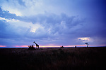 A giraffe is silhouetted as the sun sets on the savannah in Buffalo Springs, Kenya.