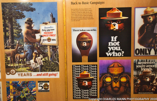 Historic posters are on display at the Smokey Bear State Park in Capitan, New Mexico