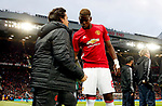 Paul Pogba of Manchester United discusses tactics with coach Rui Faria during the UEFA Europa League Quarter Final 2nd Leg match at Old Trafford, Manchester. Picture date: April 20th, 2017. Pic credit should read: Matt McNulty/Sportimage