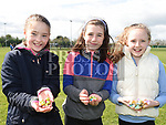 Gemma Leahy, Molly McGuirk and Caoileann Hanratty at the East Meath United Easter Egg hunt. Photo:Colin Bell/pressphotos.ie