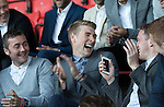 St Johnstone Player of the Year Awards 2014-15.....16.05.15<br /> Tam Scobbie and David Wotherspoon have a laugh at Danny Swanson as Chris Millar uses one of his acceptance speeches to tell the supporters what a pest Danny is in the dressing room and that he personally won't miss him!!<br /> Picture by Graeme Hart.<br /> Copyright Perthshire Picture Agency<br /> Tel: 01738 623350  Mobile: 07990 594431