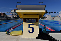 Starting block lane five. <br /> Italian athletes were able to resume training last week after more than 50 days of lockdown due to the coronavirus (covid-19) pandemic <br /> Roma 12-5-2020 Centro Federale di Ostia <br /> Photo Andrea Staccioli / Deepbluemedia / Insidefoto