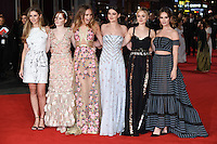 Hermione Corfield, Ellie Bamber, Suki Waterhouse, Millie Brady, Bella Heathcote &amp; Lily James at the European premiere for &quot;Pride and Prejudice and Zombies&quot; at the Vue West End, Leicester Square.<br /> February 1, 2016  London, UK<br /> Picture: Steve Vas / Featureflash