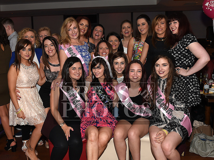 Rachel Woods pictured with friends at her hen party in Brú. Photo:Colin Bell/pressphotos.ie