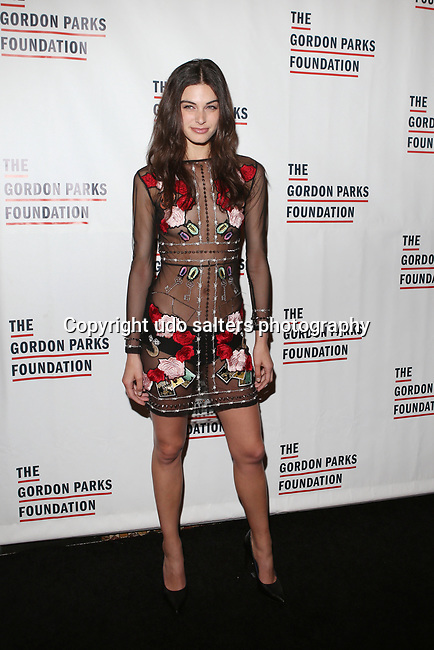 Model Mariah Strongin Wearing a Nicole Miller dress attends THE GORDON PARKS FOUNDATION HONORS CONGRESSMAN JOHN LEWIS, MAVIS STAPLES,<br />
