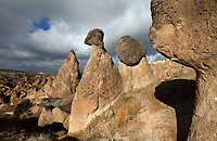 Fairy chimneys in Devrent Valley, known as Imagination Valley, near Goreme in Nevsehir province, Cappadocia, Central Anatolia, Turkey. The rock formations here were made by erosion of the volcanic tuff created by ash from volcanic eruptions millions of years ago, and many resemble figures or animals, such as camels, snakes, seals and dolphins. This area forms part of the Goreme National Park and the Rock Sites of Cappadocia UNESCO World Heritage Site. Picture by Manuel Cohen