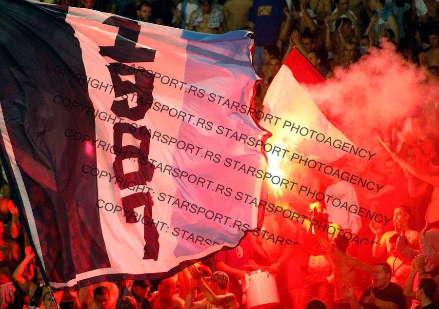 Fudbal.FK Crvena Zvezda Vs. FK Rad.Navijaci FK rad, United Force, fans, Supporters.Beograd, 23.08.2009..foto: Srdjan Stevanovic/Starsportphoto ©