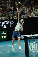 29th January 2020; Melbourne Park, Melbourne, Victoria, Australia; Australian Open Tennis, Day 10; Alexander Zverev of Germany serves during his mens singles semi-final match against Dominic Thiem of Austria