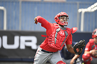 TEMPORARY UNEDITED FILE:  Image may appear lighter/darker than final edit - all images cropped to best fit print size.  <br /> <br /> Under Armour All-American Game presented by Baseball Factory on July 19, 2018 at Les Miller Field at Curtis Granderson Stadium in Chicago, Illinois.  (Mike Janes/Four Seam Images) Darius Perry is a catcher from La Mirada High School in Whittier, California committed to UCLA.