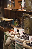 Coffee beans for sale at a stall in a souq in the Old City in Damascus, Syria