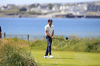 Niall Horan (AM) on the 4th tee during the Pro-Am of the Irish Open at LaHinch Golf Club, LaHinch, Co. Clare on Wednesday 3rd July 2019.<br /> Picture:  Thos Caffrey / Golffile<br /> <br /> All photos usage must carry mandatory copyright credit (© Golffile | Thos Caffrey)