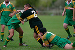 Bombay hooker R. Katu has the attention of several Drury players. Counties Manukau Premier Club Rugby, Drury vs Bombay played at the Drury Domain, on the 14th of April 2006. Bombay won 34 - 13.