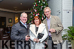 Denis Lyons, Moira Lyons and Denis Sugrue from An Post Tralee  enjoying the Ashe Hotel Christmas party night on Saturday