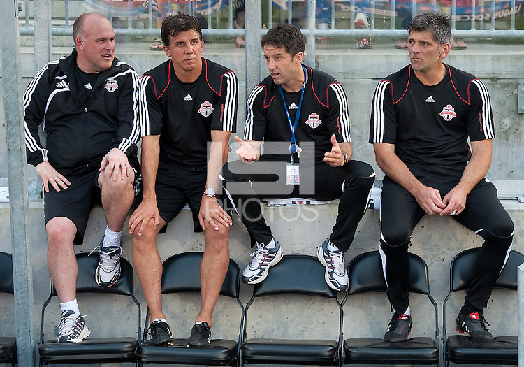 26 June 2010: Toronto FC head coach Preki talks to his coaching staff during the beginning of a game between the Los Angeles Galaxy and the Toronto FC at BMO Field in Toronto..Final score was 0-0...